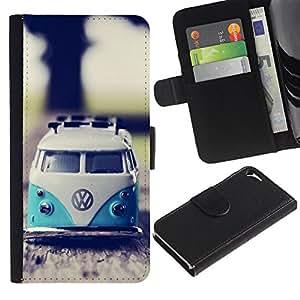 Billetera de Cuero Caso Titular de la tarjeta Carcasa Funda para Apple Iphone 5 / 5S / hippie bus 70's weed culture van / STRONG