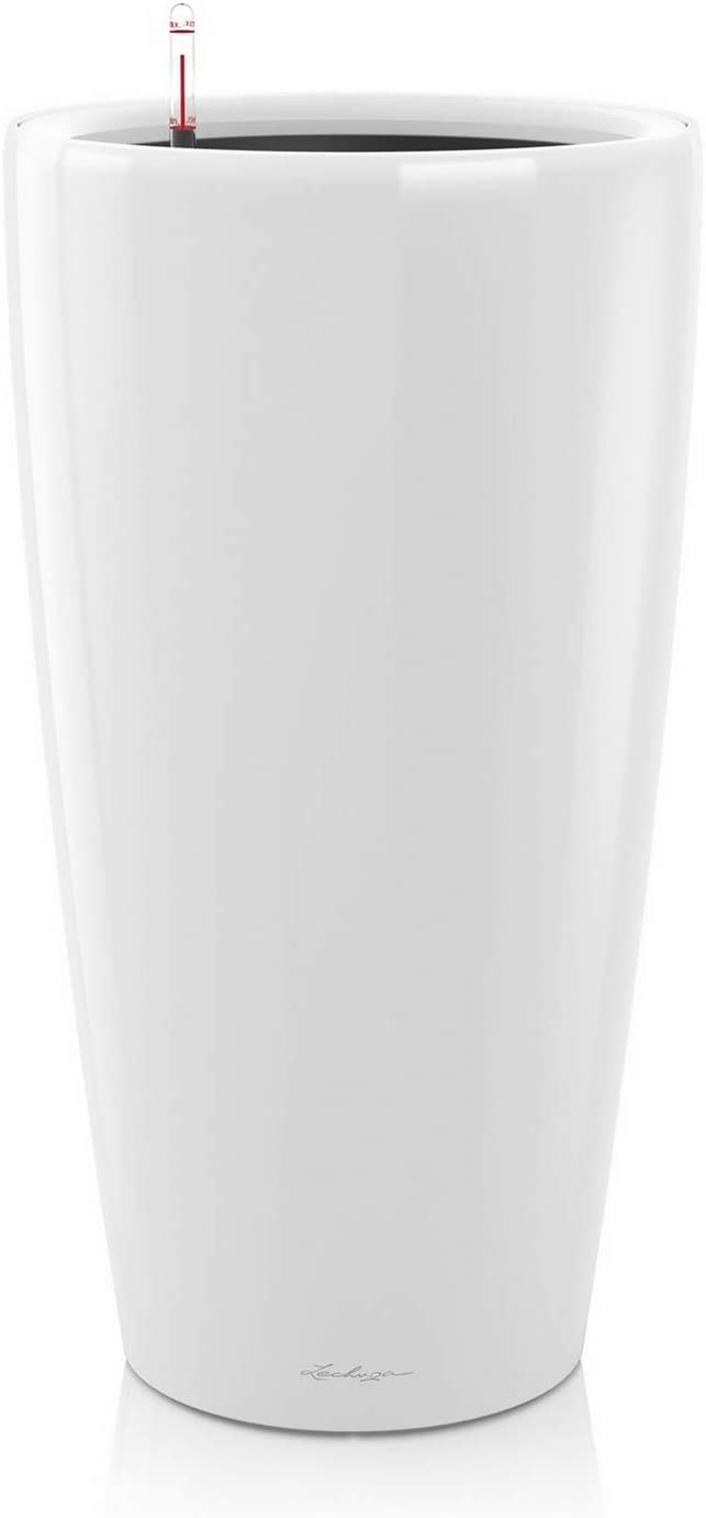 LECHUZA Rondo 32 Self Watering Planter Large Garden Flower Plant Pot Indoor/Outdoor Floor Planter with Drainage Hole and Plant Substrate Poly Resin D32 H56 cm White High-Gloss