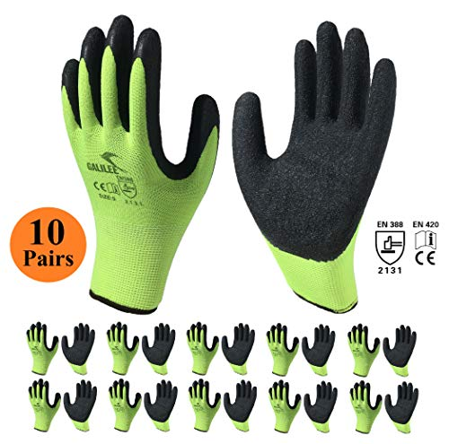 - Nitrile Latex Rubber Coated Safety Work Gloves, Nylon Knit, Textured Palm Grip ( 10 Pair Pack, Green/Black, size large fits most )