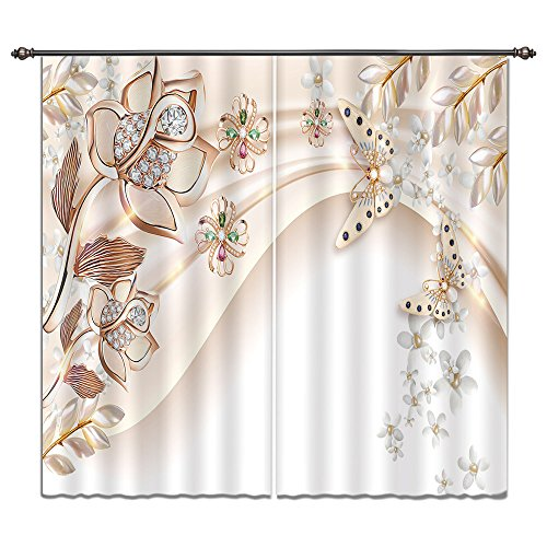 LB Flower Window Curtains for Bedroom Living Room,Modern Asian Classical Art Floral Decor Teen Kids Room Darkening Thermal Insulated Blackout Curtains Drapes 2 Panels,28 by 65 inch Length