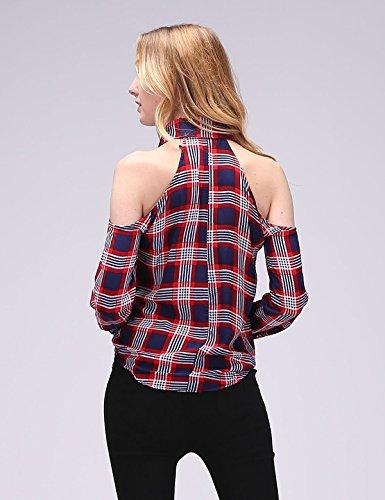 Dioufond Blusas Mujeres de Algodón a Cuadros Blusas de Manga Larga Camisas Femeninas Fuera de Los Hombros Con Botón en El Cuello BigNavy