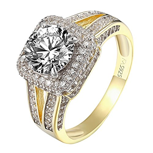 .925 Sterling Silver Bridal Solitaire Simulated Diamond Ring 14k Gold Finish Halo Wedding