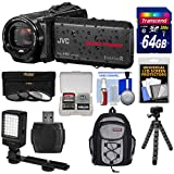 JVC Everio GZ-R440 Quad Proof Full HD Digital Video Camera Camcorder (Black) with 64GB Card + Backpack + Tripod + 3 Filters + LED Light Kit