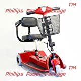 "Zip'r Mobility - Traveler - Travel Scooter - 3-Wheel - 14""W x 12.5""D - Red - PHILLIPS POWER PACKAGE TM - TO $500 VALUE"