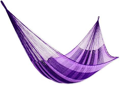 NOVICA Bright Purple Striped Hand Woven Nylon Mayan 2 Person XL Rope Hammock