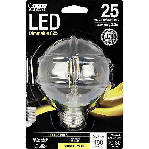 Feit Electric - Decorative Clear Glass Filament LED Dimmable 25W Equivalent Soft White (2700K) G25 Globe Light Bulb (BPG2525/827/LED)