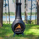 The Blue Rooster Prairie Chiminea in Charcoal with Gas
