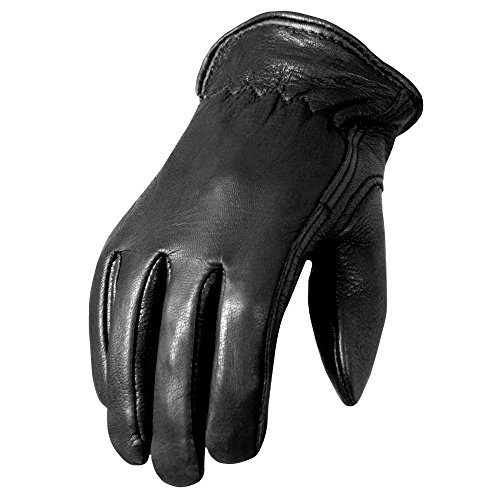 Hot Leathers Classic Deerskin Driving Gloves (Black, Large)