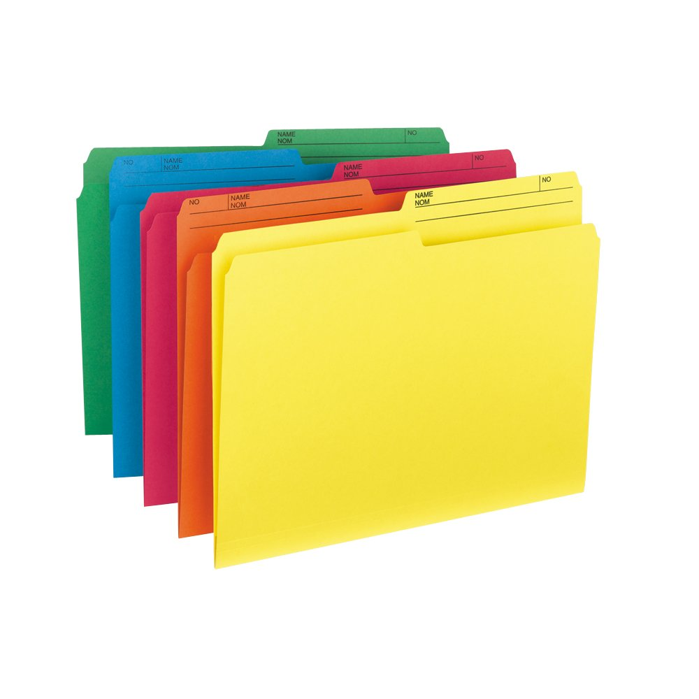 Smead File Folder, Letter, 1/2-Cut, 2 Reversible Tab, Assorted Colors, 10 Per Pack (10391) Smead CA