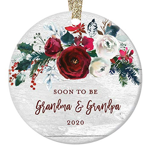 Grandma & Grandpa Pregnancy Announcement Christmas Ornament Newborn Baby Due 2020 Soon To Be Grandparents Modern Farmhouse Ceramic Floral Keepsake 3