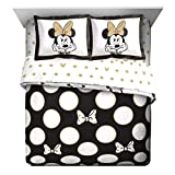 Disney Minnie Mouse Icon and Dots Full/Queen Reversible Comforter & Sham Set, Black/White
