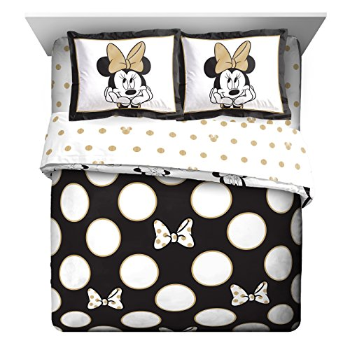 Disney Minnie Icon and Dots Full/Queen Comforter - excellent soft Kids reversible Bedding features Minnie Mouse - Fade tolerant Polyester Microfiber Fill (Official Disney Product)