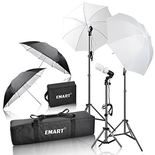 Emart 600W Photography Photo Video Portrait Studio Day Light Umbrella Continuous Lighting Kit - Camera Lighting