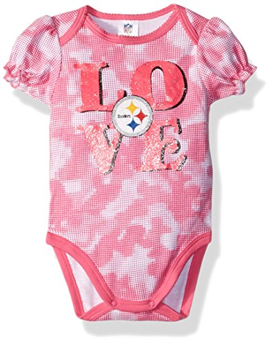 NFL Pittsburgh Steelers Baby-Girls Camo Bodysuit, Steelers, 18 Months