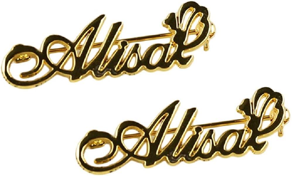 834664fd443a Grancey Nombre Broche Personalizado para Mujeres Nombre Personalizado  Broche Hecho con Cualquier Letra Joyas de Plata Oro Rosa Oro