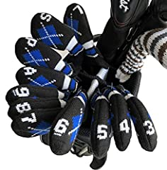 HugeLoong Knit Golf Iron Head Covers Set 11-Piece(3~L)-Head Covers with Numbers on Top&Side(Royal) Material:97%Acrylic,3%Latex Size: Approx 18*7*1cm