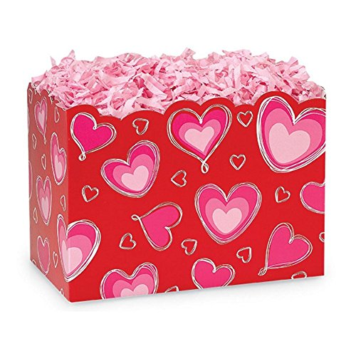 Large Ombre Hearts Basket Boxes - 10 1/4 x 6 x 7 1/2in. - 78 Pack by NW