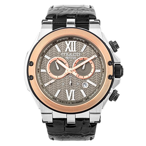 (Mulco Nefesh Iconic Quartz Swiss Chronograph Movement Unisex Watch | Sundial Display with Rose Gold and Rose Gold Accents | Leather Watch Band | Water Resistant Stainless Steel Watch (Black))