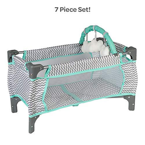 (Adora Baby Doll Crib Zig Zag Deluxe Pack N Play, Fits Dolls up to 20 inches, Bed/Playpen/Crib, Changing Table, Mobile with 3 Clouds and Storage Bag)