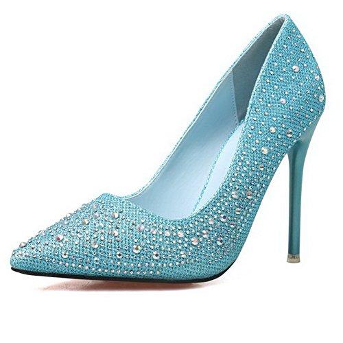 Damen Rein Blend-Materialien Spitz Zehe Flache Schuhe mit Wasser Diamanten, Golden, 39 AalarDom