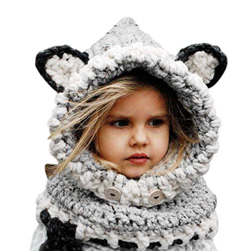 Baby Girls Boys Warm Soft Knit Bear Hat Toddler Winter Crochet Beanie Cap Circle Scarf (2 Piece Sets) Gray ()