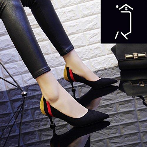 Tacón De De Otoño Solo Fino 5Cm Zapatos Negro Señaló Zapatos Tacón Femenino GAOLIM Trabajo Zapato Femenino De AxOnYER