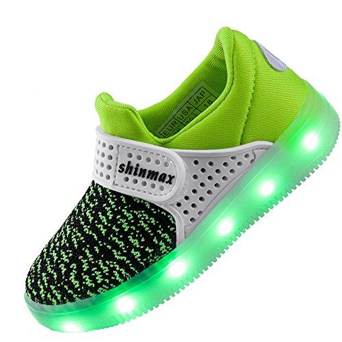 Shinmax LED Zapatos, Primavera-Verano-Otoño Transpirable Zapatillas LED 7 Colores Recargables Luz Zapatos de Deporte de Zapatillas con Luces Para Niños Niñas con CE Certificado Verde