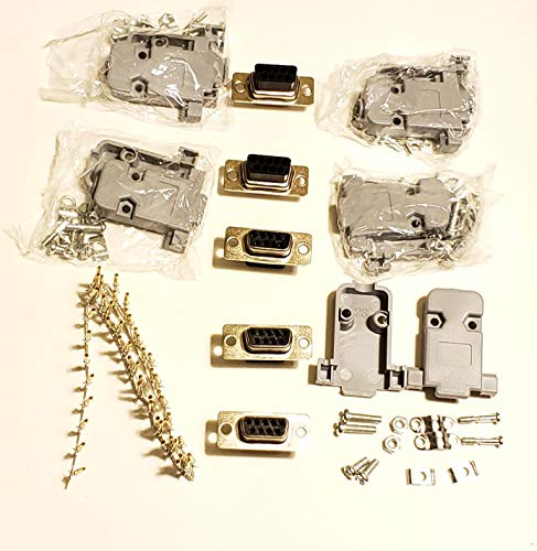 - Connectors Pro 5 Sets Crimp Type DB9 Female + Plastic Hoods + Pins Set, D-Sub 9P Female Crimp Connector, Pin & Hood Kit (5 DB9 Female + 5 Hoods + 50 Pins)