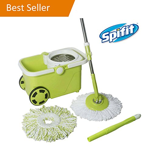 Spifit Ergonomic 360 Swivel Spin Mop, Stainless Steel Spin Floor Mop and Bucket Floor Cleaning System, Telescoping Mop Pole, 2 Microfiber Mop Heads, 1 Brush Disc, [Gift] 2 Scrub Sponges Included Telescoping Mop