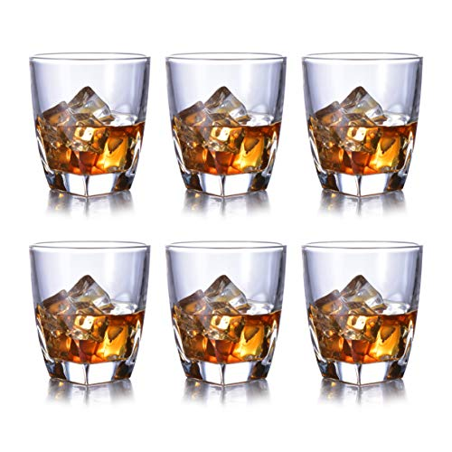 (Whiskey Glasses Set of 6 Heavy Base and Lead-Free Crystal for Whisky Vodka Bourbon Scotch Liquor Cocktails 10 oz Old Fashioned Glass by JASVIC)