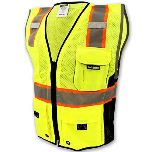 KwikSafety (Charlotte, NC) CLASSIC (10 Pockets) Class 2 ANSI High Visibility Reflective Safety Vest Heavy Duty Mesh with Zipper and HiVis for OSHA Construction Work HiViz Men Yellow Black L/XL
