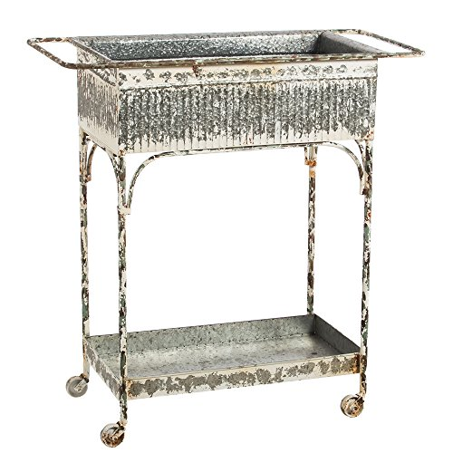Cape Craftsmen Vintage White Washed Metal Two Tiered Cart with Tub