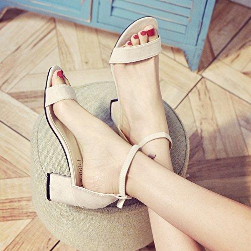 YMFIE Verano Tacones de Las señoras Tobillo Tacones Sandalias de los pies Fiestas de Bodas Tacones Altos. Beige