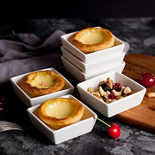BTäT- Ramekins 4 oz Square, Set of 6 Ramekins for Baking, Creme Brulee Dishes, Souffle Cups, Flan Pan, Sauce Cups, Custard Cups, Pudding Cups, Desert Bowls, Dipping Bowls, Baking Bowls, Small Ramekins by Brew To A Tea (Image #1)