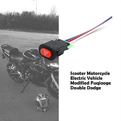 Scooter Motociclo Veicolo elettrico modificato Doppio interruttore flash Doppio flash avviso Doppio interruttore di salto-Nero