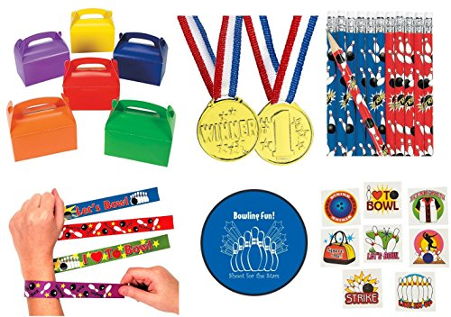 Bowling Party 133 piece Party Pack Bundle Kid's Favors (12 Goodie Gift Boxes, 12 Slap Bracelets, 72 Tattoos, 12 Gold Medals, 24 Pencils, Bonus Folding Flying (Bowling Birthday Party Favors)