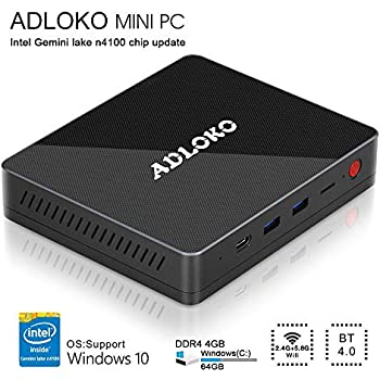 [Latest Gemini Lake] ADLOKO GE41 - Mini PC, Intel Gemini Lake N4100, HD Graphics 600, RAM DDR4 4GB/ROM 64GB, Support 2.5SATA HDD/SDD/USB Type-C/Dual HDMI ...