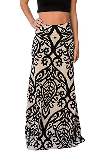 AlvaQ Women Fall High Waisted Coral Print Long Maxi Skirt Medium Black ()