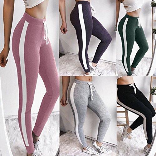 Yying Grandes Leggings Pantalón Fit Pantalones Pantalones Rayado Cordón Slim Moda Cintura Deportivos Mujer Elástico Tallas Púrpura Casual Aptitud para con Cintura Alta RYRraqwfZ
