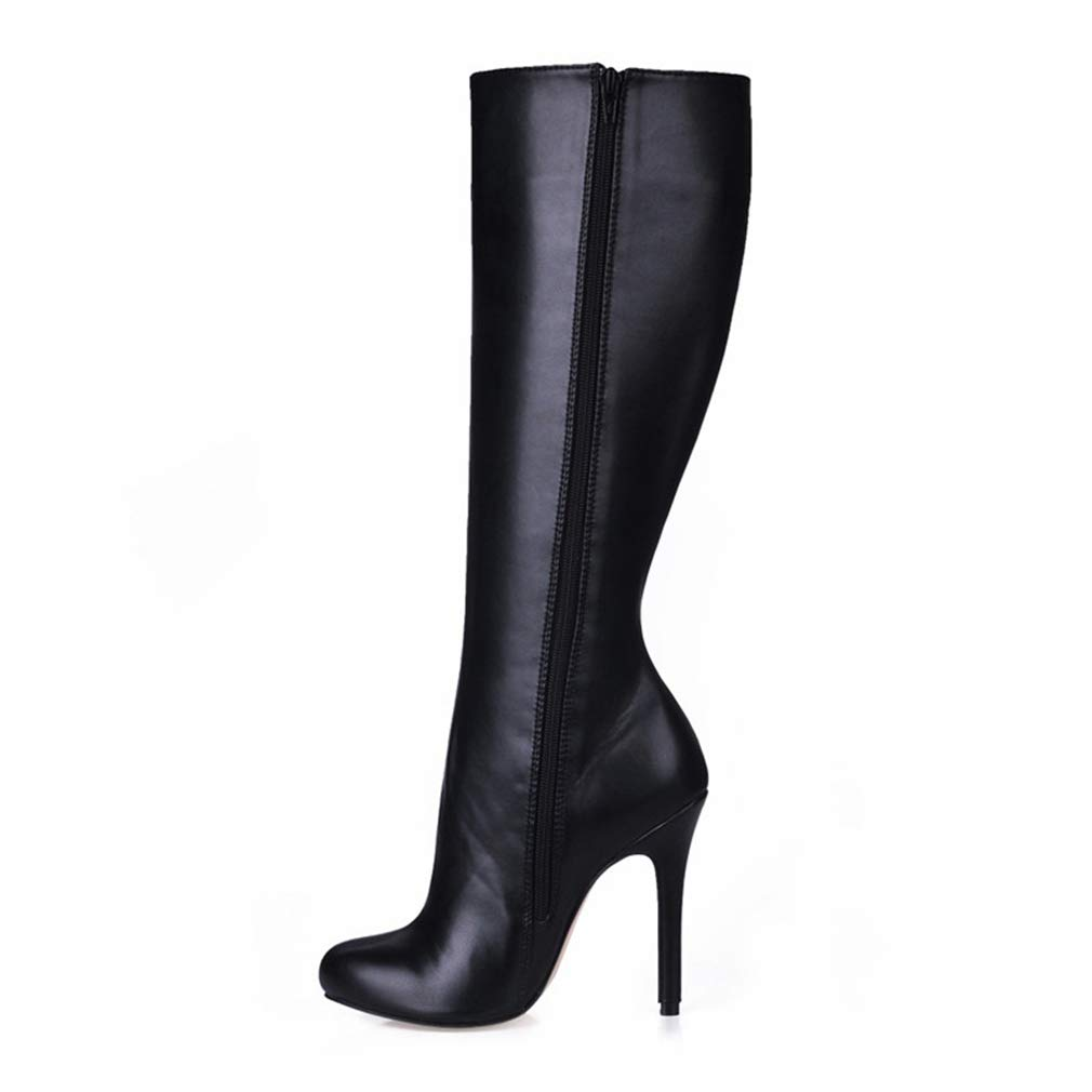 Black T-JULY Spring Autumn Botas women Thin Heels Knee-High Snow Boots for Women Sexy shoes Crossdresser Suede Wedding Pumps 35-43
