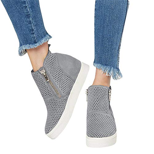 - Women's Platform Sneaker Fashion Cut Out Suede Increase Zipper Ankle Booties Shoes