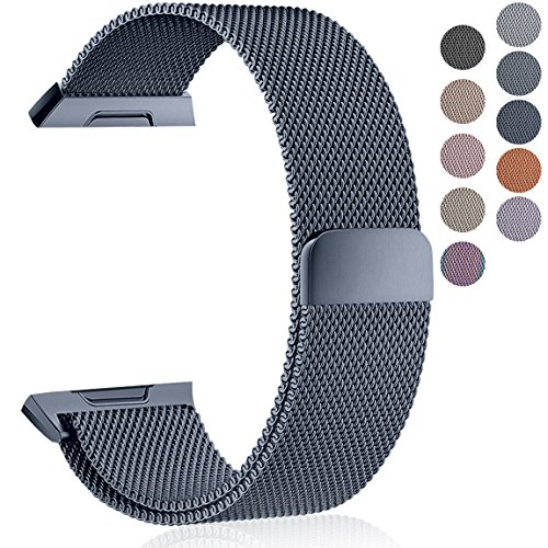 Maledan Metal Bands Compatible with Fitbit Ionic, Stainless Steel Milanese Loop Replacement Accessories Bracelet Strap with Magnet Closure for Fitbit Ionic Smart Watch, Charcoal, Small