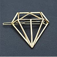Fashion Cute Women Diamond Shape Hairpin Hair Clip Hair Accessories Gift ERAWAN sakcharn (Gold)