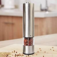 Electric Pepper Grinder or Salt Grinder - Battery Operated Stainless Steel Pepper Mill with Light - One Handed Operation…