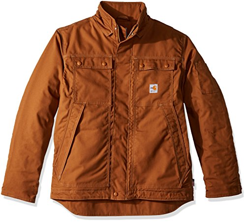 Windblock Jacket - Carhartt Men's Flame Resistant Full Swing Quick Duck Coat, Brown, Large