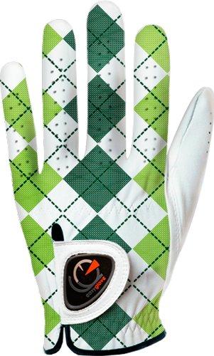 easyglove BRITISH_CHECKERD-GREEN-W Womens Golf Glove (White), Medium, Worn on Left Hand