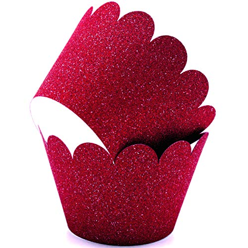 Glitter Cupcake Wrappers Adjustable, Reusable - 50 Count (Burgundy)