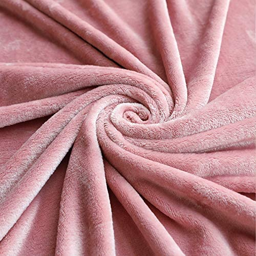 TASTHROW Large Flannel Fleece Throw Blanket, 50×70 Inch - Cozy Lightweight Thick Blanket - All Seasons Suitable for Women, Men and Kids (Pink)