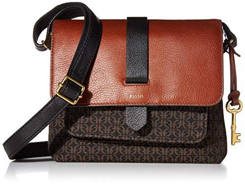 Fossil Women's Kinley Fabric Small Crossbody Handbag, Black Jacquard