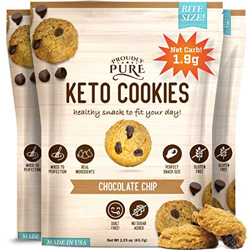 Proudly Pure Mini Bite Size On the Go 3 Pack Keto Cookie Chocolate Chip Snacks - Healthy Low Carb, Diet Friendly, Tasty and Delicious Gluten Free Food Treats Made With Real All Natural Ingredients 1